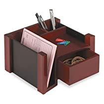 Black faux leather &amp Mahogany wood,Rolodex desk director, 7-1/8 w x 6-11/16d x 4-1/8h Inch