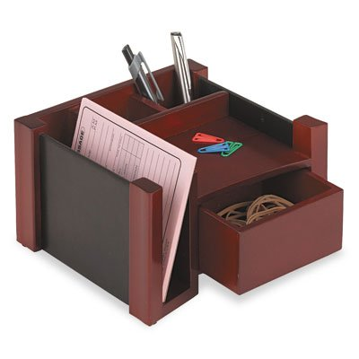 Rolodex 81767 Mahogany wood & black faux leather desk director, 7-1/8 w x 6-11/16d x 4-1/8h
