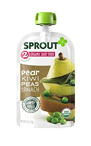 Sprout Organic Baby Food Stage 2 Pouches, Pear Kiwi Peas Spinach, 4 Ounce (Pack of 5)