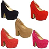 LoudLook New Womens Ladies Suede Platform Strappy Buckle Cutout Wedges Heels Shoes Size 3-8 UK 5 Colours