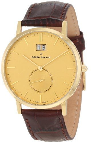 Claude Bernard Men's 64006 37J DI Classic Gents Gold Tone Dial Brown Leather Date Watch
