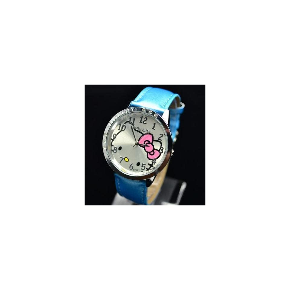 Hello Kitty Classic Blue Wrist Watch + Free Heart Necklace