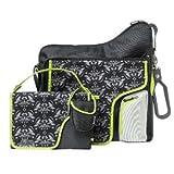 Útil nailon JJ Cole sistema de pañales cambiador, bolsa y chupete incluido) bebé/niño/bebé/niño-De Damasco Negro