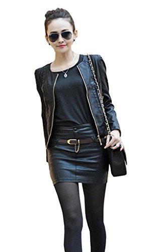 Lovaru Women's Faux Leather O neck Jacket Coat