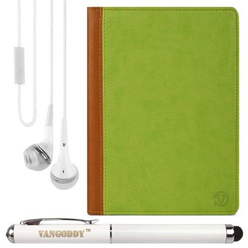 "Mary Portfolio Case W/ Handstrap & Kickstand For Hp Slate 8 Pro / Slate 8 Pro Business / Slate 8 Plus 8"" Tablets + Laser Stylus Pen + White Headphones (Green & Tan)"
