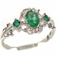 VINTAGE design 925 Solid Sterling Silver Natural Emerald Ring – Finger Sizes 4 to 12 Available