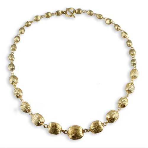 Brushed Graduated 14K Gold Plated Beaded Designer Inspired 18inch Necklace with Toggle Clasp