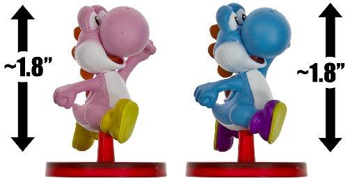 "Blue Yoshi (~1.8"") & Pink Yoshi (~1.8""): Super Mario Dual Mini-Figurine Collection Series"