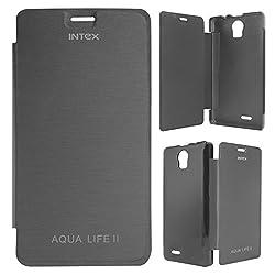 DMG Premium Diary Flip Book Cover Case for Intex Aqua Life II (Black)