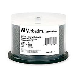Verbatim DataLifePlus 25 GB 6x Blu-ray Single-Layer Recordable White Thermal, Hub Printable Disc BD-R (50-Disc Spindle) 97338