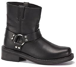 Men\'s Full Grain Leather - Oil Resistant Bottom Motorcycle Harness Boots - Black / Brown - Sizes 6-13 (11, Black)