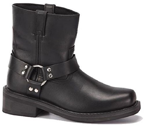 Men's Full Grain Leather - Oil Resistant Bottom Motorcycle Harness Boots - Black / Brown - Sizes 6-13