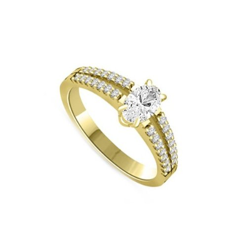 0.40ct H/SI1 Solitaire Diamond Engagement Ring for Women with Oval & Round Brilliant cut Shoulder set Diamonds in 18ct Yellow Gold