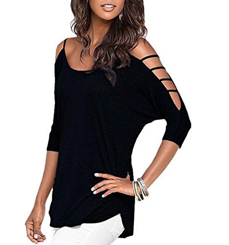 chicu-womens-off-shoulder-shirt-half-sleeve-tunic-top-casual-blouseblackm