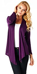 Popana Super-Soft Open Front Drape Cardigan - Medium Eggplant Made In USA