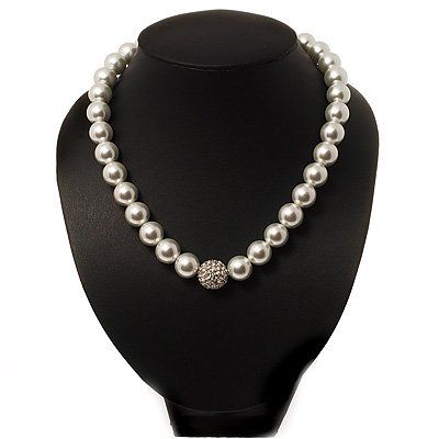 Snow White Glass Pearl Style Crystal Choker Necklace (Silver Tone Metal)