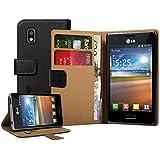 Schwarz Leder Brieftasche Aufklappbare Tasche H�lle f�r LG E610 Optimus L5 - Flip Case Cover + 2 Displayschutzfolie