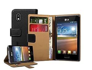 Schwarz Leder Brieftasche Aufklappbare Tasche Hülle für LG E610 Optimus L5 - Flip Case Cover + 2 Displayschutzfolie