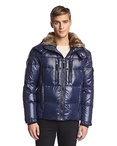 S13 Men's Trail 28 Inch Quilted Down Jacket With Removable Faux Rabbit Collar