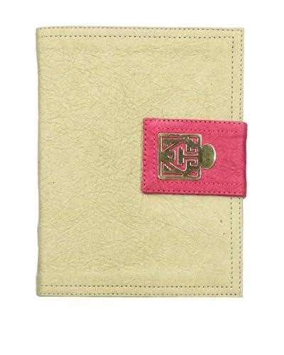 Marina Vaptzarov Medium Soft Vegetal Leather Cover Travel Diary with Brass Detail, Grey/Pink