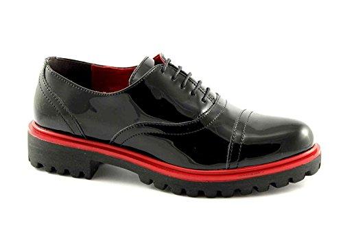 PREGUNTA 84204-VS nero scarpe donna francesina vernice puntale 39