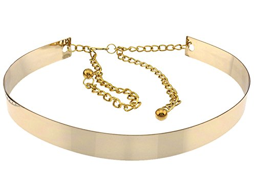 Blingkicks Womens Adjustable Metal Belt with Chain Extension Gold One Size
