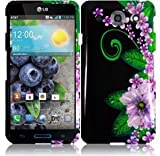 VMG 2-Item Combo for LG Optimus G Pro E980 (AT&T Carrier Version) Cell Phone Graphic Image Design Faceplate Hard Case Cover - Black Green Purple Lilies Floral Flower + LCD Clear Screen Saver Protector