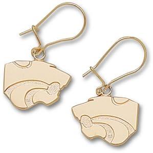 Kansas State Wildcats 3 8 Powercat Dangle Earrings - Gold Plated Jewelry by Logo Art