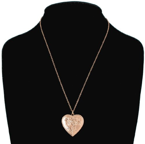 Rose Gold Plated Metal Photo Locket Pendant Necklace Flower Heart