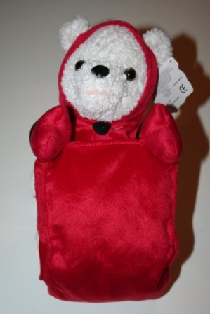 White Plush Bear with Red Sled Stuffed Animal