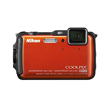 Nikon Coolpix AW120 16.1MP Waterproof Digital Camera with Wi-Fi, GPS and 1080p Video (Orange)