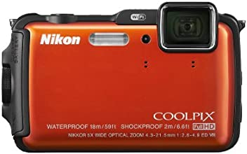 Nikon COOLPIX AW120 16.1 MP Wi-Fi and Waterproof Digital Camera with GPS and Full HD 1080p Video (Orange) (Discontinued by Manufacturer)