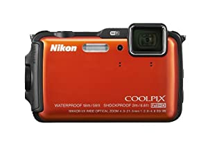 Nikon COOLPIX AW120 16.1 MP Wi-Fi and Waterproof Digital Camera with GPS and Full HD 1080p Video (Orange)