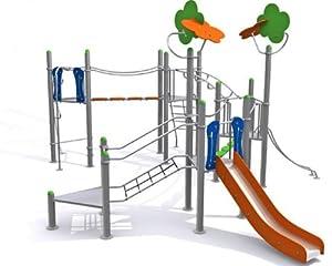 Spielanlage METALLIC V mit Brücke, Leitern, Rutsche und Klettermöglichkeiten - für öffentliche Spielplätze & Einrichtungen