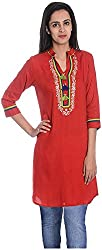 Geroo Women's Cotton Regular Fit Kurta (MKT-1502CAZ, Red, XL)