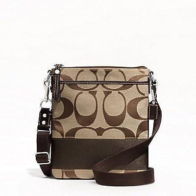Coach Signature Khaki Brown Stripe Swingpack Crossbody Bag 48391e