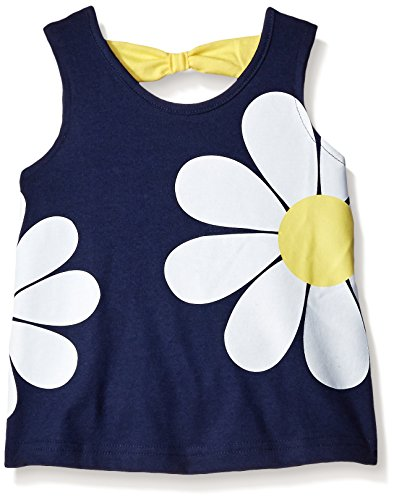 Gerber Graduates Girls Sleeveless Top with Bow Back, Navy Flower, 5T