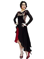 BMR Summer Cool Black & Red Georgette Wasten Wear Kurti