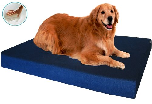 "Heavy Duty Xl Waterproof Orthopedic Memory Foam Dog Bed With Denim Cover + Free Bonus Case, Fit 48""X30"" Crate"