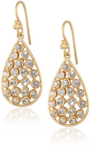 Lauren Harper Collection Milky Way 18k Gold and Rose Cut Diamond Pear Drop Earrings