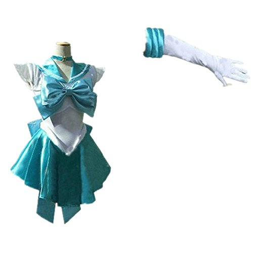 [Dillian Womens Sailor Moon Mars Costume Cosplay Party Dress & Gloves,Lakeblue,S] (Pippi Longstocking Costumes)