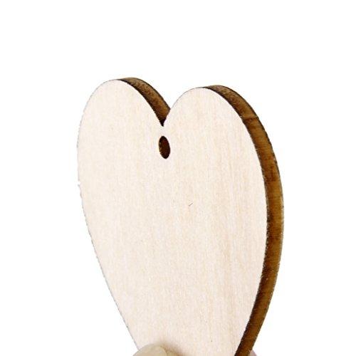 Phenovo Lot de 25pcs Embellissement Forme de Coeur en Bois pour Artisanat Décoration de Mariage 4x4cm