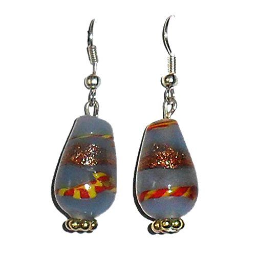 Beadworks Beadworks Beaded Earrings - Blue Colour Lampwork Beaded Earrings (Multicolor)