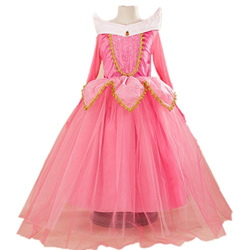 [OuTaking Girls' Pink/Blue Cartoon Party Dress Princess Costume, Pink US 2-4 (110)] (Toddler And Girls Aurora Princess Costumes)