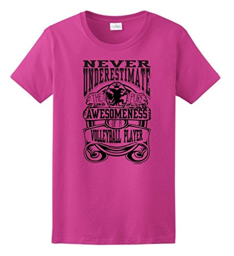Never Underestimate Awesome Volleyball Player Ladies T-Shirt X-Large Heliconia