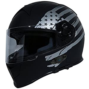 Torc T14B Bluetooth Integrated Mako Full Face Helmet with Flag Graphic (Flat Black, Large) by Torc