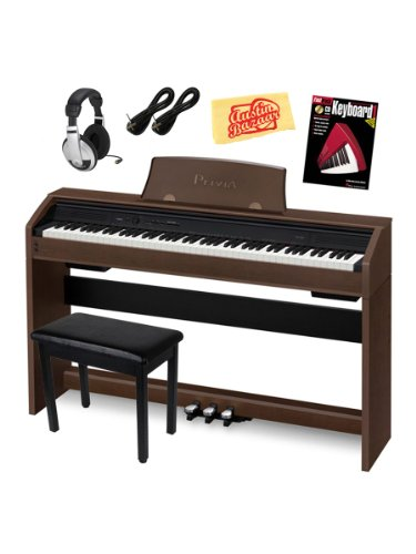 Casio Privia Px-750 Digital Piano Bundle With Gearlux Furniture-Style Bench, Samson Headphones, Two Gearlux Instrument Cables, Hal Leonard Instructional Book, Austin Bazaar Instructional Dvd, And Austin Bazaar Polishing Cloth - Brown