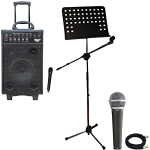Pyle Speaker, Mic, Cable and Stand Package - PWMA1050 800 Watt VHF Wireless Battery Powered Pa System W/Echo/Ipod/MP3 Input Jack - PDMIC58 Professional Moving Coil Dynamic Handheld Microphone - PMSM9 Heavy Duty Tripod Microphone And Music Note Stand - PPMCL30 30ft. Symmetric Microphone Cable XLR Female to XLR Male