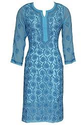 ADA Lucknow Chikankari Hand Embroidery Traditional Ethnic Wear Georgette Kurti A113578