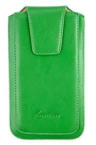 Emartbuy® Sleek Range Green PU Leather Slide in Pouch Cover ( LM2 ) With Pull Tab Suitable For Xiaomi Mi 4c